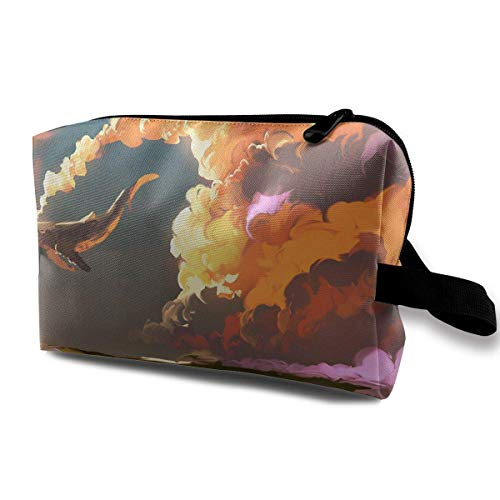 Cosmetic Bag Download Cloud Sky Whale Waterproof Travel Bag with Zipper, Roomy Cosmetic Bag