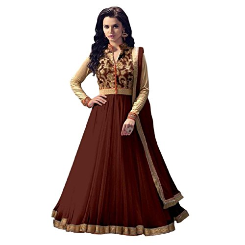 Women's Exclusive Designer Party Wear Collection Todays Best Lower Price Offer Net Brown Colored Anarkali Dress Material Salwar Suit  available at amazon for Rs.575
