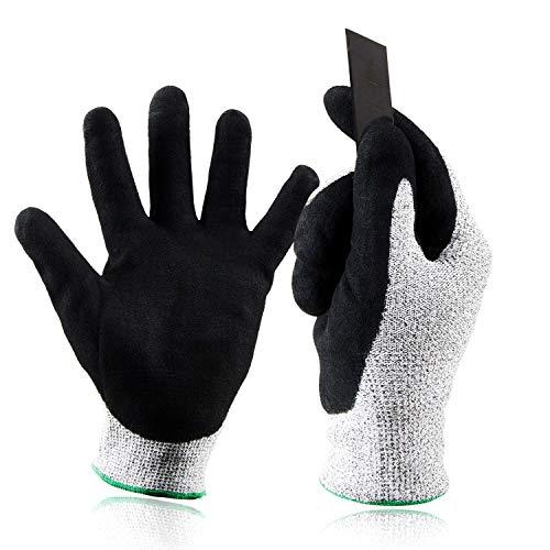 Babimax Schnittschutzhandschuhe(2 Paar) Schnittschutzklasse 5 aus Dyneema Stichfest für Baustelle GartenbauSchlachthof Holzfabrik Männer Frauen