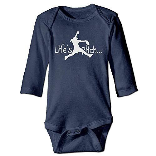 VTXWL Unisex Infant Bodysuits Life's A Pitch Boys Babysuit Long Sleeve Jumpsuit Sunsuit Outfit Navy