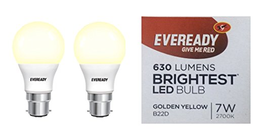 Eveready Base B22D 7-Watt LED Bulb - Golden Yellow Pack of 2  available at amazon for Rs.299