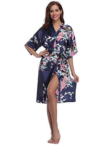 Aibrou Womens Long Satin Dressing Gown Kimono Robe Wedding Kimono Nightwear Sleepwear Bathrobe