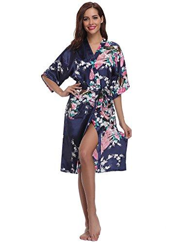 Aibrou Womens Long Satin Dressing Gown Kimono Robe Wedding Kimono Nightwear Sleepwear Bathrobe
