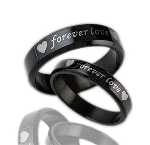 Frauen Männer True Love Ring Black Titan Steel Band Ring Für Hochzeit Frauen 7 Männer 11 (Geschenke Unter 4 Dollar)