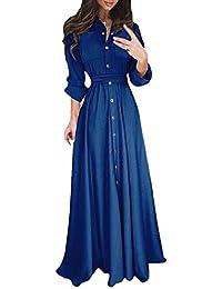 Vestidos Maxi Mujer Primavera Otoño Línea A Vestidos Elegantes Vintage  Color Sólido Manga Larga Vestidos De f5a0fa1e5aec