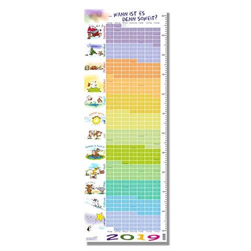 """Stikkipix Kinderzimmer Kalender 2019""""Wann ist es soweit - Kalender für Kinder 2019 mit integrierter Maßtabelle/Maßband"""