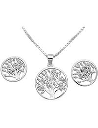 Schmuck Damen 4tlg.Set Halskette Anhänger Ohrstecker Lebensbaum 925 Silber  mit Zirkonia Venezianer Collier Kette 40 45 50 55cm… c8a6774f9d