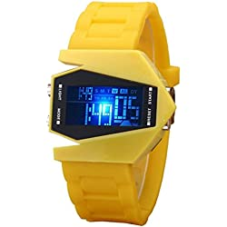 Stylish multi-function LED digital watches silica gel sport and leisure aircraft table students watch
