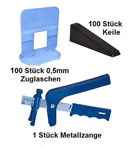 Sistema de nivelación 0,5mm 100laschen 100cuñas + Metal Alicate peygran Sistema de nivelación
