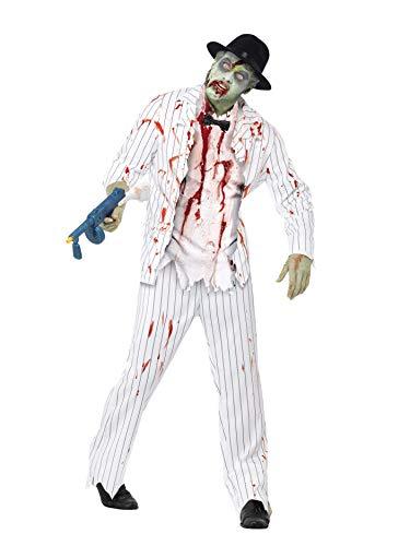 Gangster Zombie Kostüm Herren - Smiffys, Herren Zombie-Gangster Kostüm, Jacke, Hose, Oberteil mit Latex-Teilen und Fliege, Größe: L, 43042
