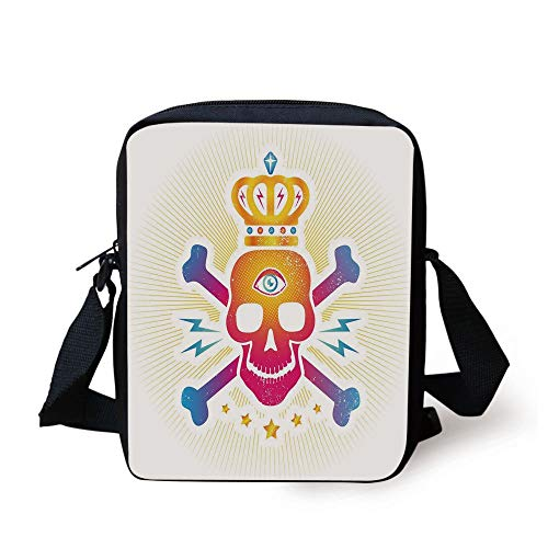 King,Digital Print Skull with Crown and Bones Abstract Stars Ombre Design,Yellow Hot Pink and Blue Print Kids Crossbody Messenger Bag Purse Hot Pink Plaid Design