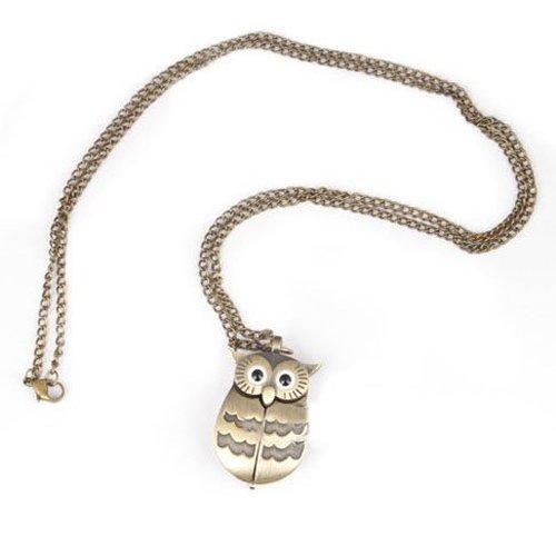 Reloj de bolsillo - SODIAL(R) Reloj de bolsillo del diseno delicado del estilo encantador del buho con cadena Reloj de bolsillo de estilo retro, ideal regalo