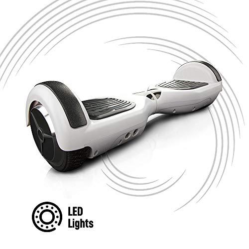 ACBK - Scooter Elettrico Hover Autobilanciato Basic con Ruote da 6.5\'\' (Luci a LED Integrate) velocità Massima: 10-12 km/h - Autonomia 10-20 km - Carico sopportato: 20-100kg (Bianco)