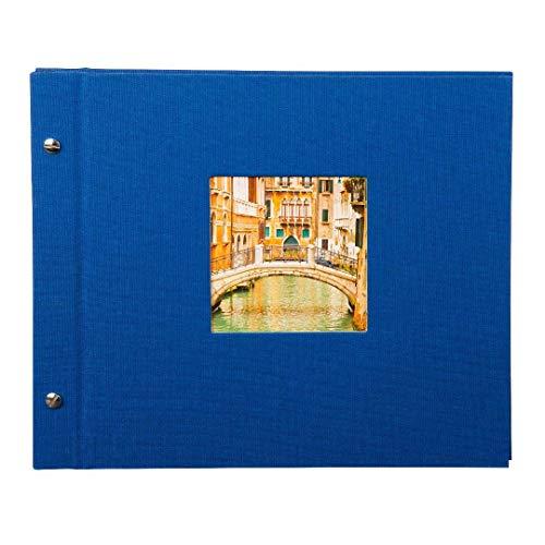 Goldbuch Schraubalbum mit Fensterausschnitt, Bella Vista, 30 x 25 cm, 40 schwarze Seiten mit Pergamin-Trennblättern, Erweiterbar, Leinen, Blau, 26975 - Erweiterbar 25