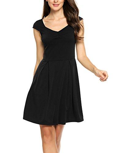 Zeagoo Damen Sommerkleid Vintage Ärmellos Minikleid A Linie Kurz Klassisches Kleid V-Ausschnitt mit Falten Schwarz