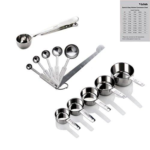 Yizish Edelstahl Messbecher und Löffel mit Messlineal, Scoop mit Clip, Küchenumrechnungstabelle 13er Set für trockene und flüssige Zutaten