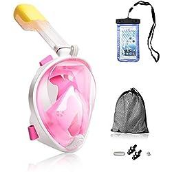 Churidy Masque de plongée intégral avec Vision à 180°, Joint en Silicone Anti-buée, Technologie Anti-Fuite pour Adultes et Enfants