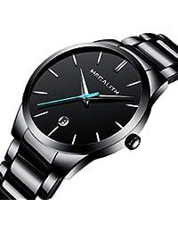 Relojes Hombre Relojes de Pulsera Deportivos Impermeable Fecha Lujo de Acero Inoxidable Negro Reloj Analogico Hombre Elegante Simple Clásico con Puntero Azul