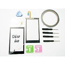 JRLinco ParaHTC Desire 610D610 Pantalla de Cristal Táctil, Pieza de Recambio touchscreen glass display Para HTC Desire 610D610Negro + Herramientas y Adhesivo de Doble Cara + Paquete de Limpieza