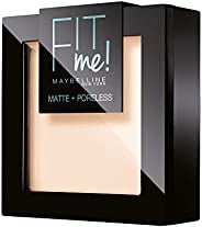 Maybelline New York Fit Me Matte&Poreless Cipria Opacizzante e Fissante, Pennello e Specchietto Inclusi, 1