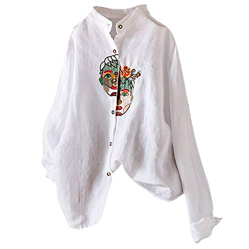 Plus Size Stretch-twill Shorts (LILIGOD Damen Baumwolle und Leinen Shirt Blouse Vintage Stickerei Oberteile beiläufige Plus Size T-Shirt Lose Bequem Casual Bluse Tops Einfarbig Langärmliges Hemd mit Knöpfen)