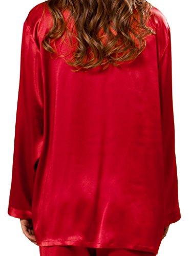 ELLESILK 100% Seide Pyjama Lange Ärmel für Frauen, Seide Schlafanzug, Damen Nachtwäsche, 22 Momme Kirschrot
