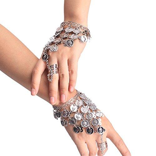 HugeStore Belly Dance Bauchtanz Armband Armreif Handschmuck Armbänder Handkette mit goldfarbenen Münzen Silber