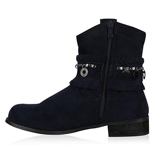 Damen Stiefeletten Ethno Cowboy Boots Ketten Stiefel Dunkelblau