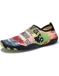 Laiwodun Hombres Mujeres Zapatos de Agua descalzo Quick Dry Aqua Calcetines  de Piel Agujeros de Drenaje de Zapatos Para Nadar Yoga… 508f46e4e5c6