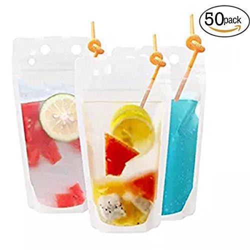 Watooma 50 durchsichtige Getränke Frucht Versiegelte Beutel aus Kunststoff, tragbarer durchsichtiger Druckverschlussbeutel fur Getränke, Fruchtsäfte, Milch - Durchsichtigen Kunststoff-beutel