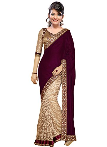 Shree Sanskruti Women's Synthetic Saree (SHREESF1018_magenta)