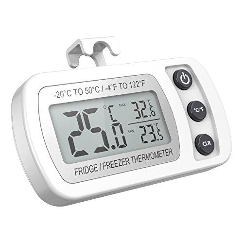 Oria Kühlschrank Thermometer mit Max/Min Funktion, Digitale Wasserdichte Gefrierschrank Thermometer Kühl-Gefrierschrank-Thermometer mit Haken Gut Lesbarem LCD-Anzeige, Perfekt für Hause,Bars,Cafés,etc