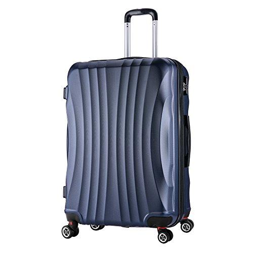 WOLTU RK4213bl-XL, Reise Koffer Trolley Hartschale 4 Rollen Volumen erweiterbar, Reisekoffer Hartschalenkoffer Handgepäck, M/L/XL/Set, leicht und günstig, Blau (XL, 76 cm & 110 Liter)