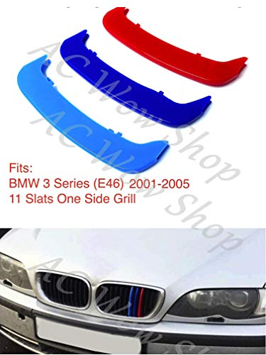 compatible with B M W 3 Series E46 2001-2005 11 Bars Bonnet Hood Radiator  Grill Stripes Slat Covers Inserts Trim Clips M Power Sport Performance Tech