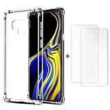 TXLING Coque pour Samsung Galaxy Note 9 Transparent [2 x Protecteur D'écran en Verre Trempé] Antichoc Ultra Transparent Doux Souple Housse TPU Silicone Etui Gel Case