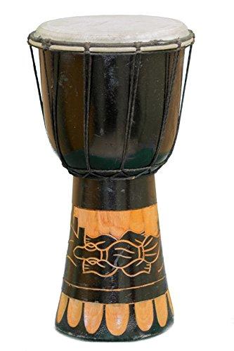 Kascha - 30cm Djembe Trommel Bongo Drum Buschtrommel Afrika-Style handgeschnitzt aus Mahagoni Holz Gecko 2