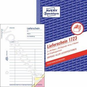 AVERY Zweckform 10 x Formularbuch Lieferschein A6 selbstdurchschreibend 3x40 Blatt