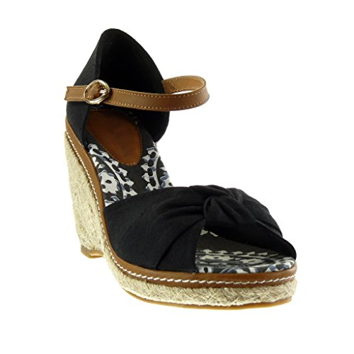 Angkorly Scarpe Moda sandali Espadrillas zeppe donna nodo tanga corda Tacco zeppa piattaforma 10.5 CM Nero