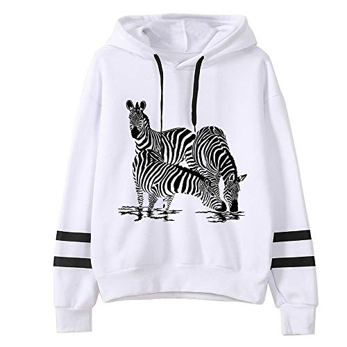 Shenye Damen Zebra Druck Langarm Streifen Rundkragen Pullover Tops Pullover Tops Casual Kapuzenpulli Pullover Top Bluse Hoodie Langarm Sweatshirt Hoodies Casual Herbst Kleid Weiß -