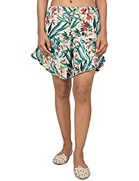 9teenAGAIN Women's Poly Crepe Floral Printed Shorts (Green)