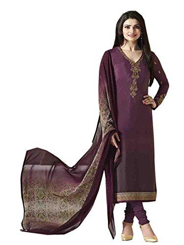 Stylish Fashion Prachi Desai Purple Embroidered Semi Stitched Straight Salwar Suit