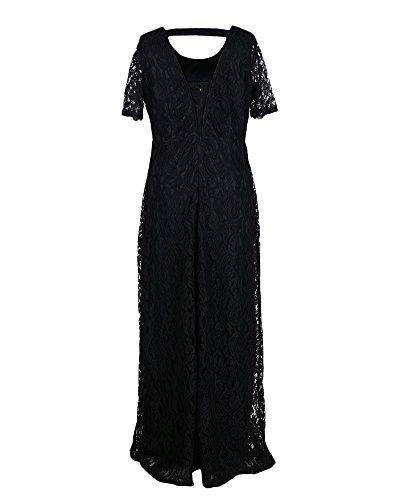 Robe De Cocktail En Dentelle Longue De Soirée Rétro Vintage Col Rond Manches Courtes Maxi Robe Pour Femme Noir