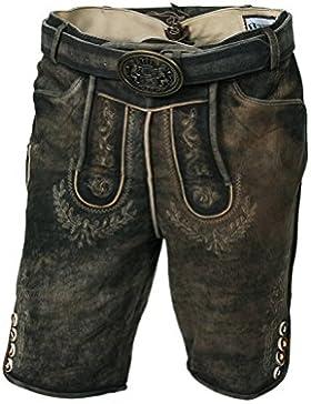 Trachten-Lederhose Herren, kurz, exklusive Trachtenmode, moderne Lederhose für das Oktoberfest, Größe 46, Größe...