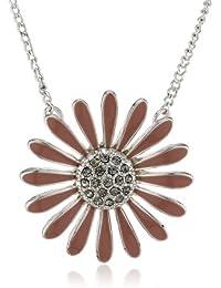 Pilgrim Jewelry Damen-Halskette mit Anhänger Blume versilbert rosa 38.0 cm 171316701
