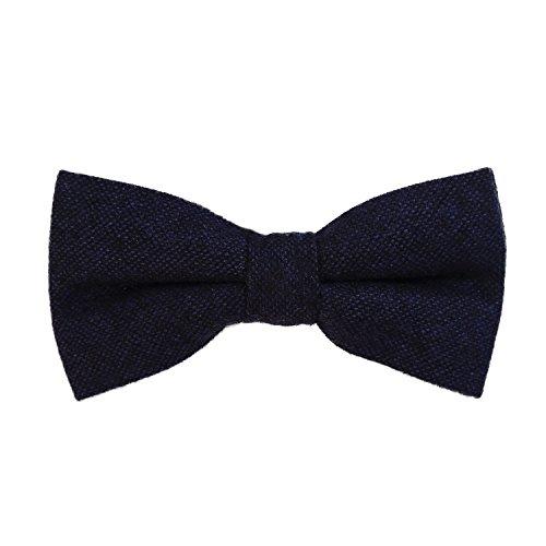 DonDon Herren Fliege 12 x 6 cm Baumwolle gebunden und längenverstellbar dunkelblau