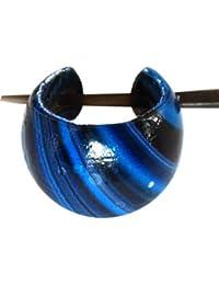 Madera Chic-Net aro pendientes pin pin pendientes de aro pendientes de coco en madera resina de las señoras de la joyería Azul Negro