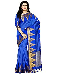 Mimosa By Kupinda Women's Tussar Silk Saree Banarasi Style Color : Blue (4072-273-Rblu)
