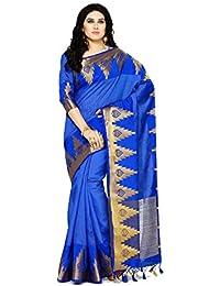 Mimosa By Kupinda Women's Tussar Silk Saree Banarasi Style Color : Blue (4072-273-Rblu)