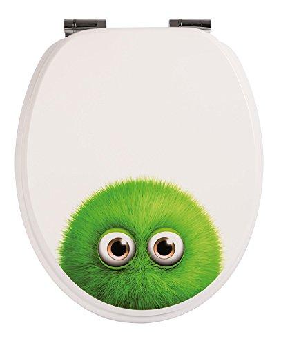 Preisvergleich Produktbild WC-Sitz Dekor Monster Bobby | Toilettensitz | WC-Brille aus Holz | Soft-Close-Absenkautomatik | Metall-Scharnier | Fast-Fix-Schnellbefestigung