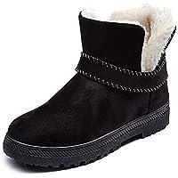 ZODOF Botas de Nieve para Mujer Zapatos con cuñas para Mujeres Botas de Nieve Botas con Correa de Hebilla de Gamuza Punta Redonda Mantener los Zapatos Calientes